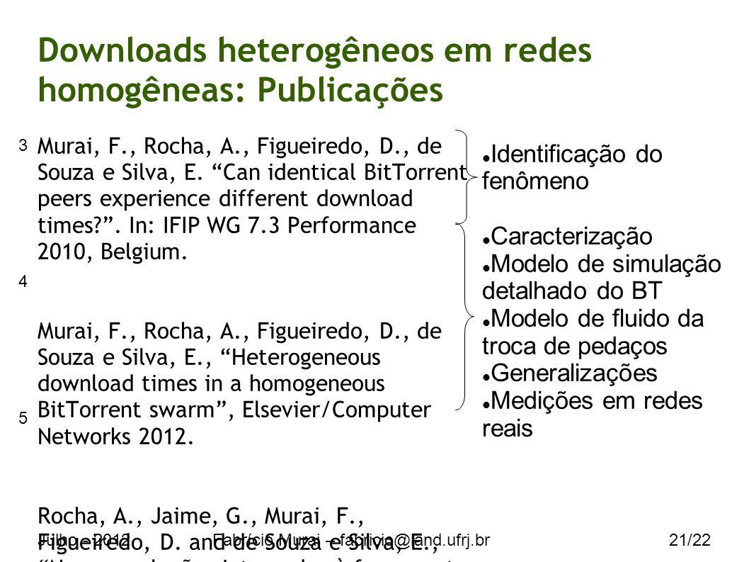 Julho - 2012Fabrício Murai – fabricio@land.ufrj.br21/22 Downloads heterogêneos em redes homogêneas: Publicações Murai, F., Rocha, A., Figueiredo, D., de Souza e Silva, E.