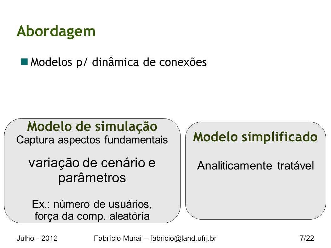 Julho - 2012Fabrício Murai – fabricio@land.ufrj.br7/22 Abordagem Modelos p/ dinâmica de conexões Modelo de simulação Captura aspectos fundamentais variação de cenário e parâmetros Ex.: número de usuários, força da comp.