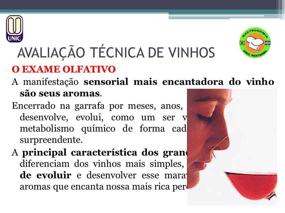 AVALIAÇÃO TÉCNICA DE VINHOS O EXAME OLFATIVO A manifestação sensorial mais encantadora do vinho são seus aromas. Encerrado na garrafa por meses, anos,