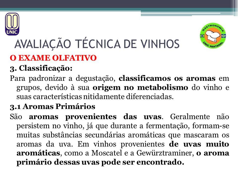 AVALIAÇÃO TÉCNICA DE VINHOS O EXAME OLFATIVO 3. Classificação: Para padronizar a degustação, classificamos os aromas em grupos, devido à sua origem no