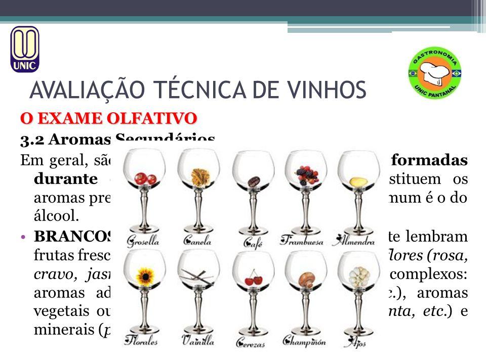 AVALIAÇÃO TÉCNICA DE VINHOS O EXAME OLFATIVO 3.2 Aromas Secundários Em geral, são provenientes de muitas substâncias formadas durante o processo de fermentação.