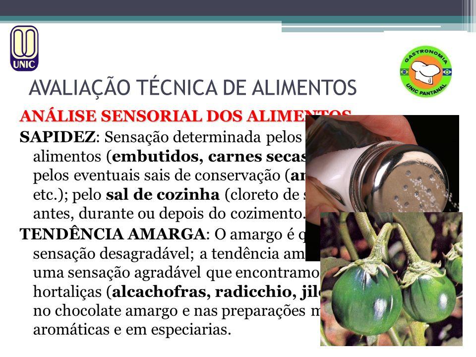 AVALIAÇÃO TÉCNICA DE ALIMENTOS ANÁLISE SENSORIAL DOS ALIMENTOS SAPIDEZ: Sensação determinada pelos próprios sais dos alimentos (embutidos, carnes seca
