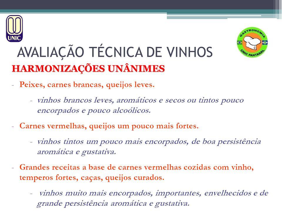 AVALIAÇÃO TÉCNICA DE VINHOS HARMONIZAÇÕES UNÂNIMES -Peixes, carnes brancas, queijos leves.