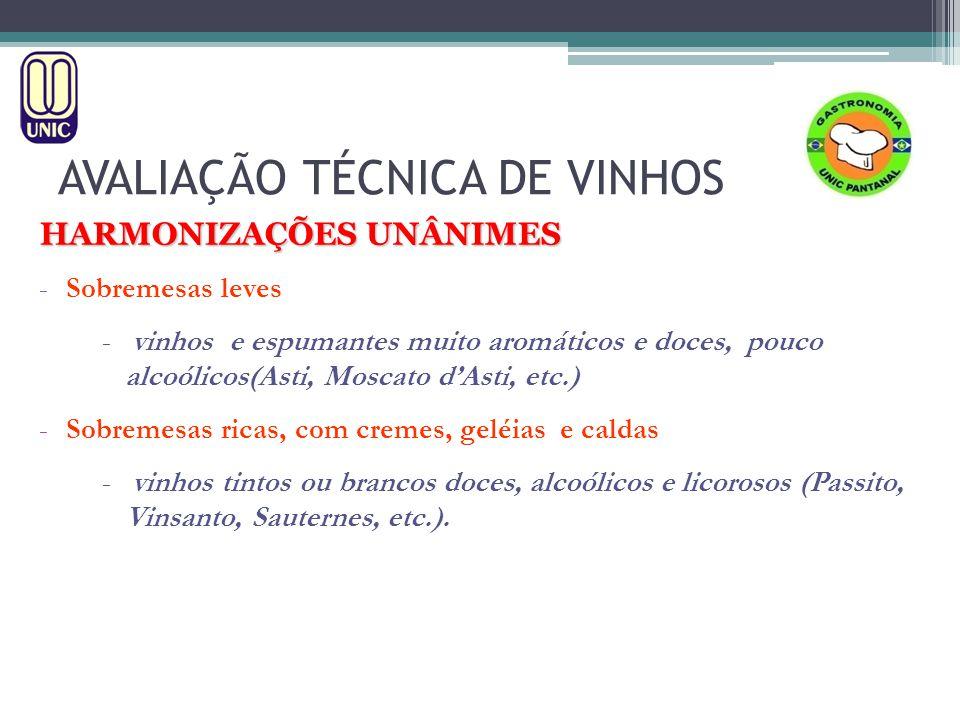 AVALIAÇÃO TÉCNICA DE VINHOS HARMONIZAÇÕES UNÂNIMES -Sobremesas leves - vinhos e espumantes muito aromáticos e doces, pouco alcoólicos(Asti, Moscato d'