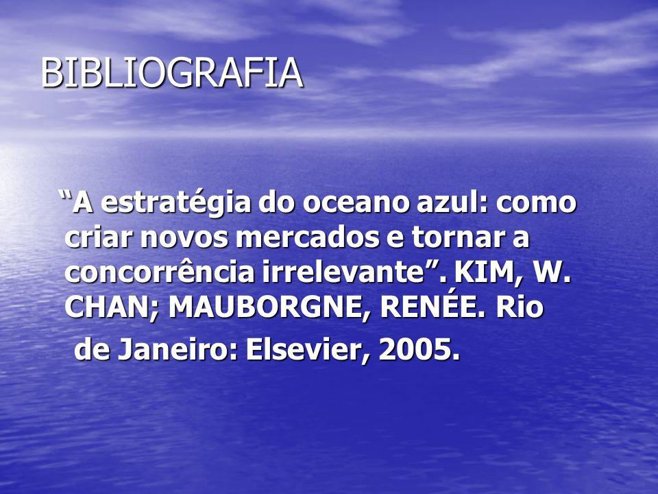 """BIBLIOGRAFIA """"A estratégia do oceano azul: como criar novos mercados e tornar a concorrência irrelevante"""". KIM, W. CHAN; MAUBORGNE, RENÉE. Rio """"A estr"""