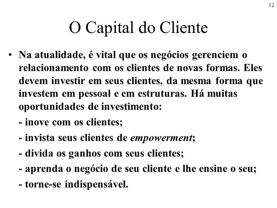 12 O Capital do Cliente Na atualidade, é vital que os negócios gerenciem o relacionamento com os clientes de novas formas.
