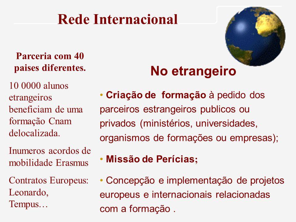 Rede Internacional Parceria com 40 paises diferentes.