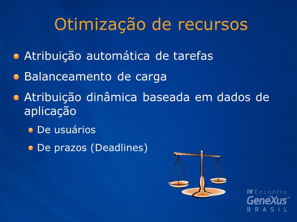 Otimização de recursos Atribuição automática de tarefas Balanceamento de carga Atribuição dinâmica baseada em dados de aplicação De usuários De prazos (Deadlines)