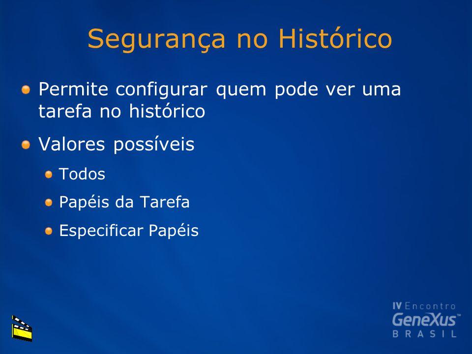 Segurança no Histórico Permite configurar quem pode ver uma tarefa no histórico Valores possíveis Todos Papéis da Tarefa Especificar Papéis