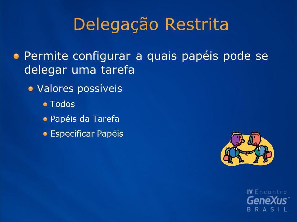Delegação Restrita Permite configurar a quais papéis pode se delegar uma tarefa Valores possíveis Todos Papéis da Tarefa Especificar Papéis