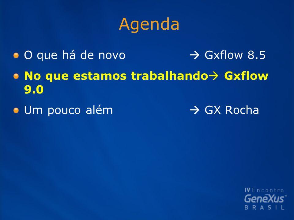 Agenda O que há de novo  Gxflow 8.5 No que estamos trabalhando  Gxflow 9.0 Um pouco além  GX Rocha