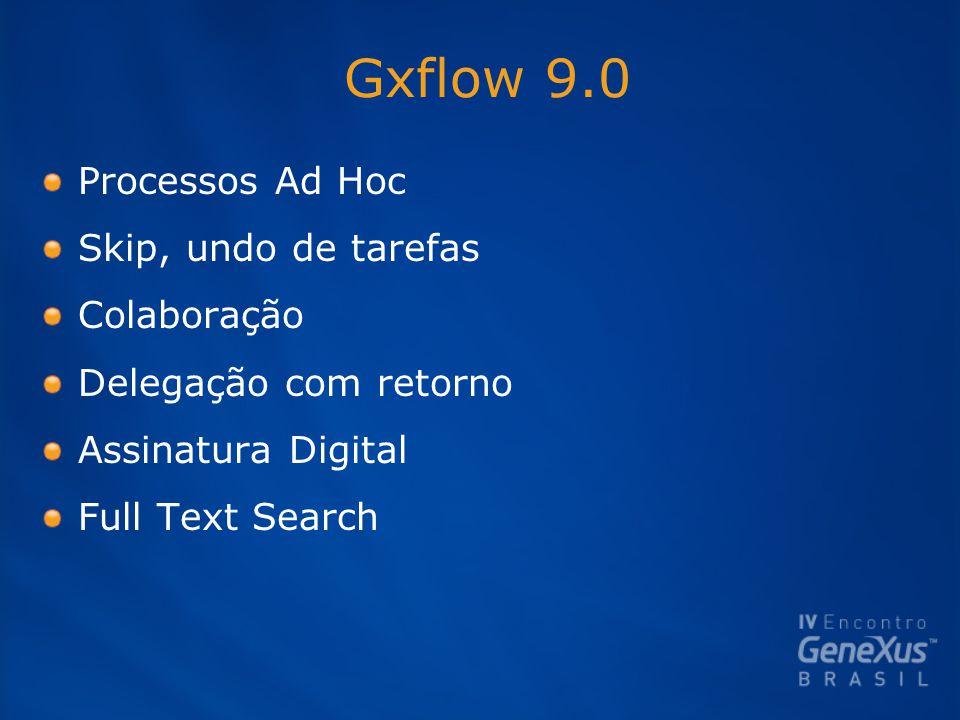 Gxflow 9.0 Processos Ad Hoc Skip, undo de tarefas Colaboração Delegação com retorno Assinatura Digital Full Text Search