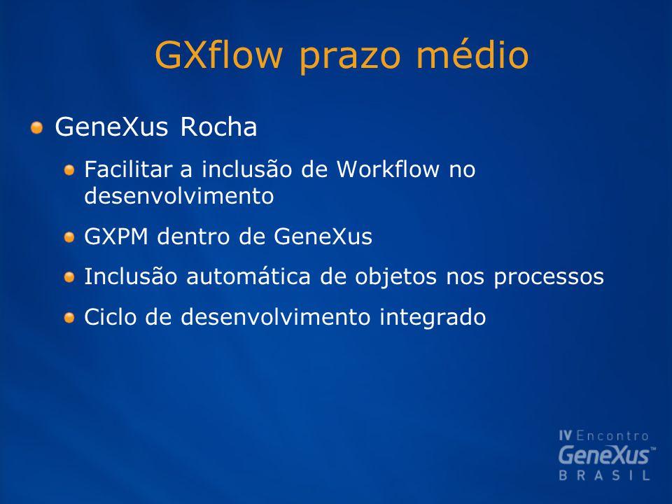 GXflow prazo médio GeneXus Rocha Facilitar a inclusão de Workflow no desenvolvimento GXPM dentro de GeneXus Inclusão automática de objetos nos processos Ciclo de desenvolvimento integrado