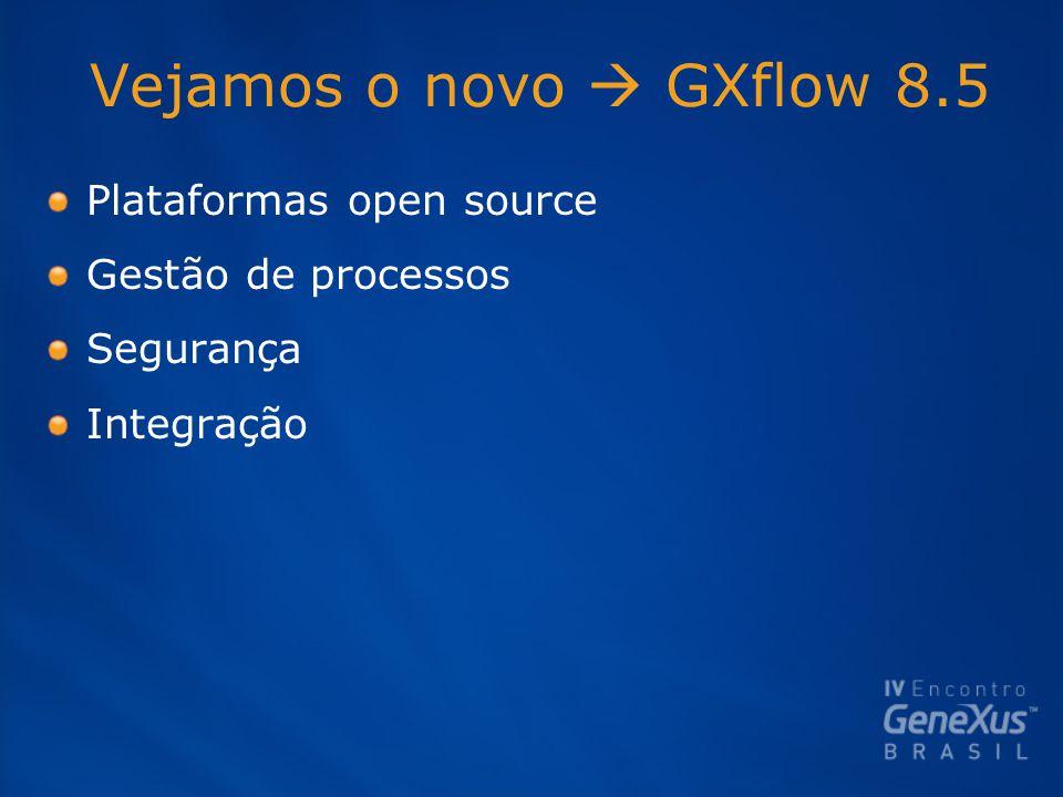Vejamos o novo  GXflow 8.5 Plataformas open source Gestão de processos Segurança Integração