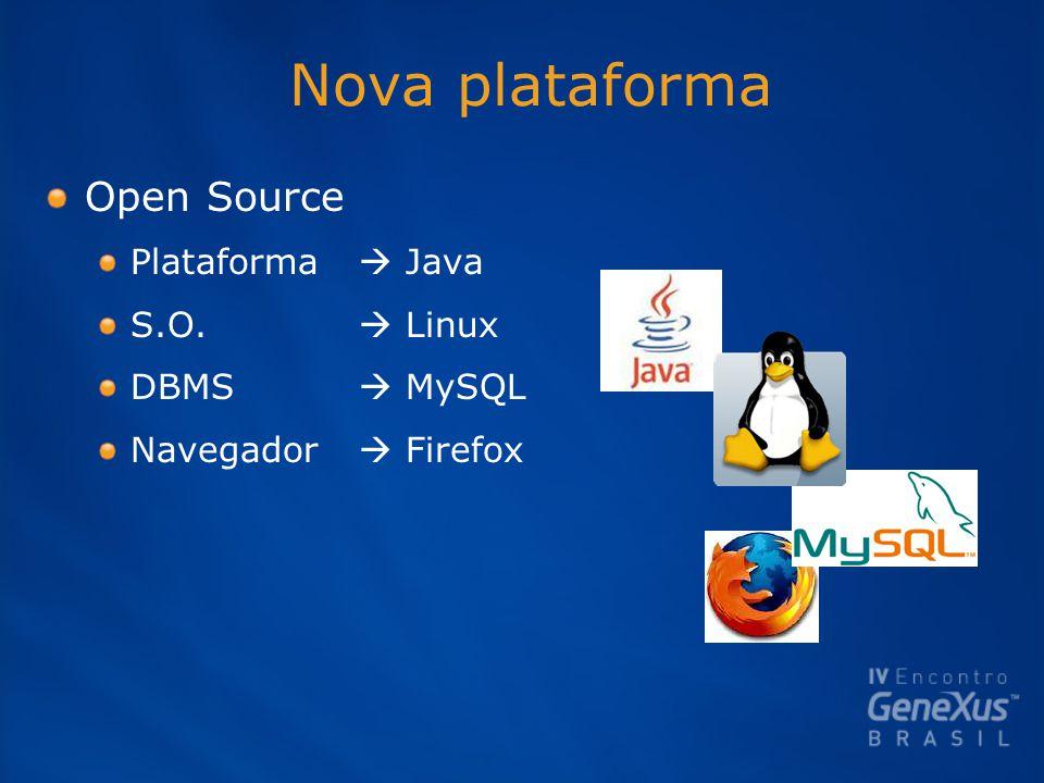 Nova plataforma Open Source Plataforma  Java S.O.  Linux DBMS  MySQL Navegador  Firefox