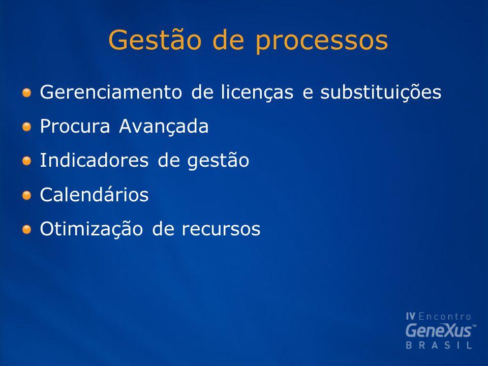 Gestão de processos Gerenciamento de licenças e substituições Procura Avançada Indicadores de gestão Calendários Otimização de recursos