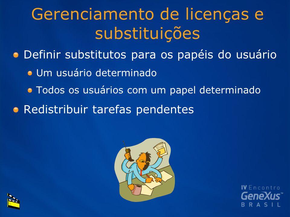 Gerenciamento de licenças e substituições Definir substitutos para os papéis do usuário Um usuário determinado Todos os usuários com um papel determinado Redistribuir tarefas pendentes