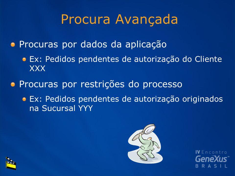 Procura Avançada Procuras por dados da aplicação Ex: Pedidos pendentes de autorização do Cliente XXX Procuras por restrições do processo Ex: Pedidos pendentes de autorização originados na Sucursal YYY