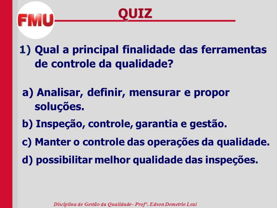 Disciplina de Gestão da Qualidade– Prof°. Edson Demetrio Leal QUIZ 1)Qual a principal finalidade das ferramentas de controle da qualidade? a) Analisar