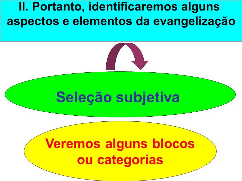 II. Portanto, identificaremos alguns aspectos e elementos da evangelização Seleção subjetiva Veremos alguns blocos ou categorias