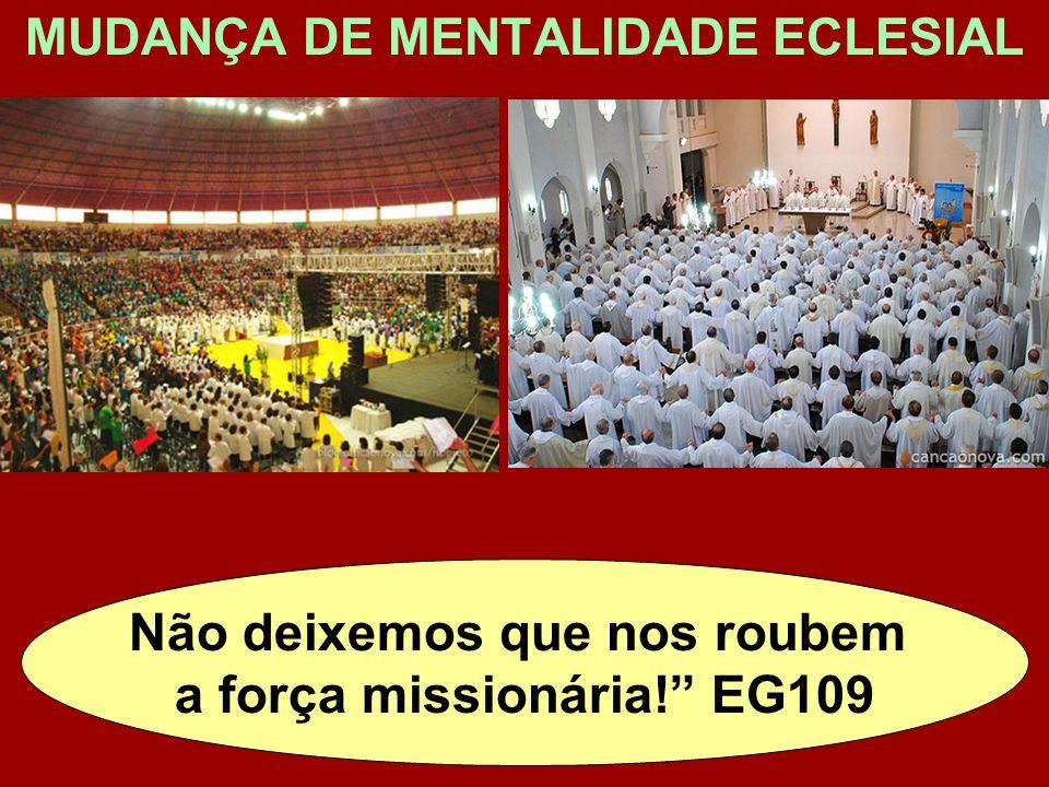 """MUDANÇA DE MENTALIDADE ECLESIAL Não deixemos que nos roubem a força missionária!"""" EG109"""