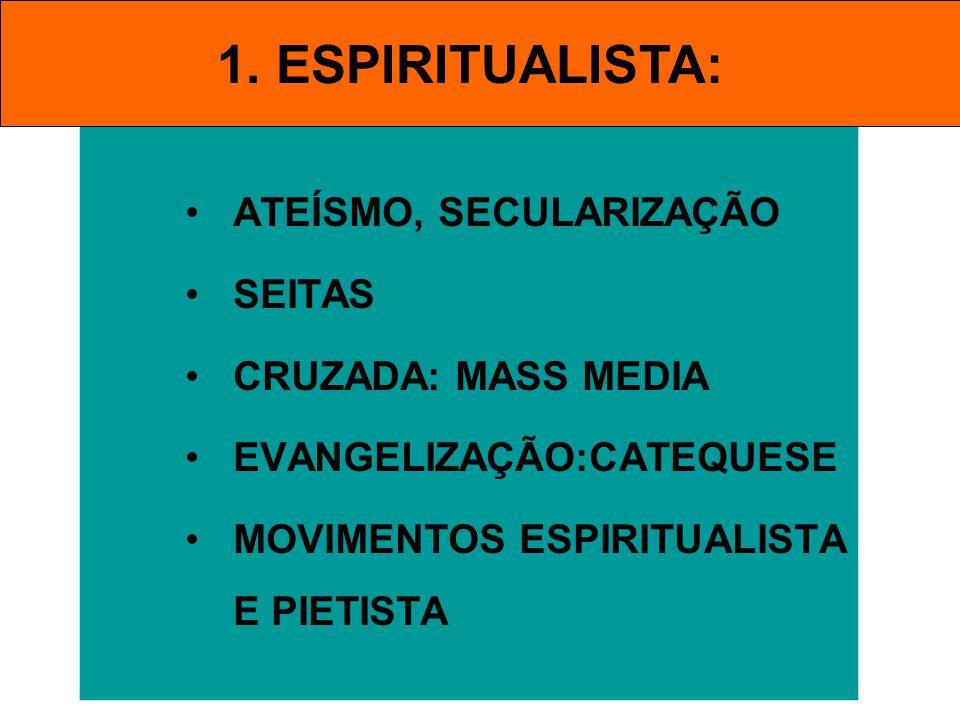ATEÍSMO, SECULARIZAÇÃO SEITAS CRUZADA: MASS MEDIA EVANGELIZAÇÃO:CATEQUESE MOVIMENTOS ESPIRITUALISTA E PIETISTA 1. ESPIRITUALISTA: