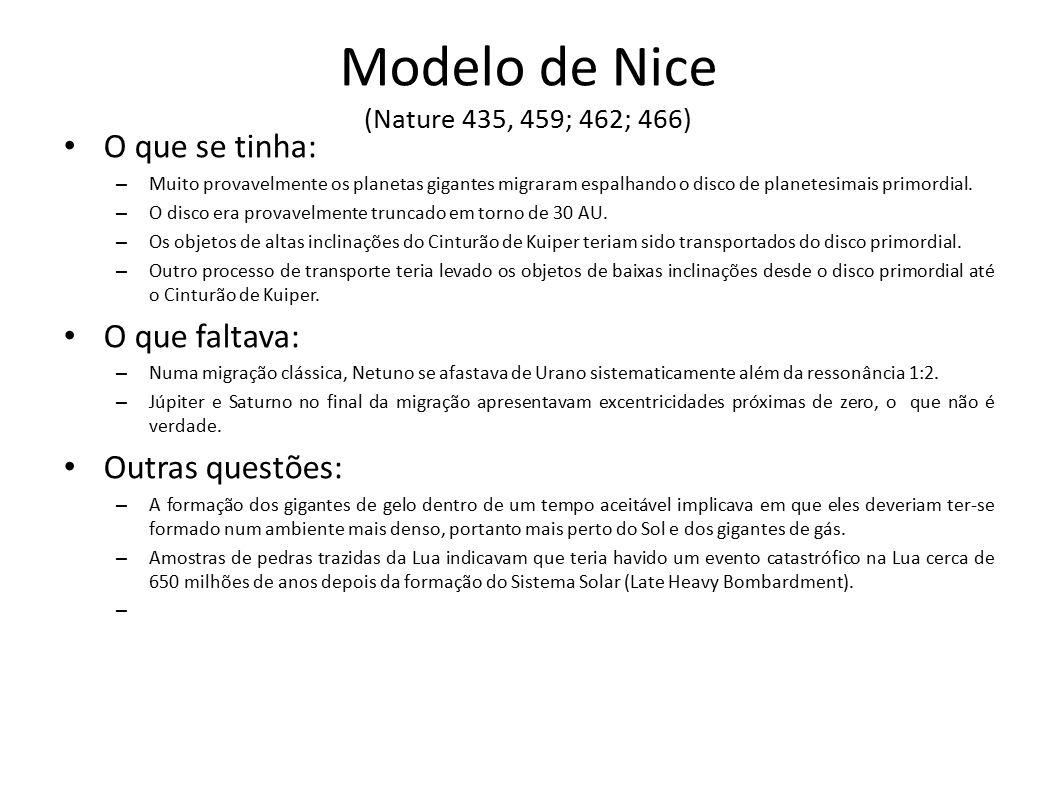 Modelo de Nice (Nature 435, 459; 462; 466) O que se tinha: – Muito provavelmente os planetas gigantes migraram espalhando o disco de planetesimais pri