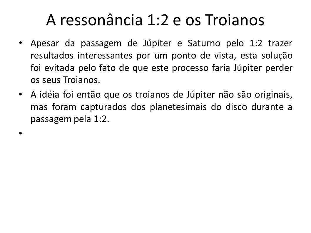 A ressonância 1:2 e os Troianos Apesar da passagem de Júpiter e Saturno pelo 1:2 trazer resultados interessantes por um ponto de vista, esta solução f
