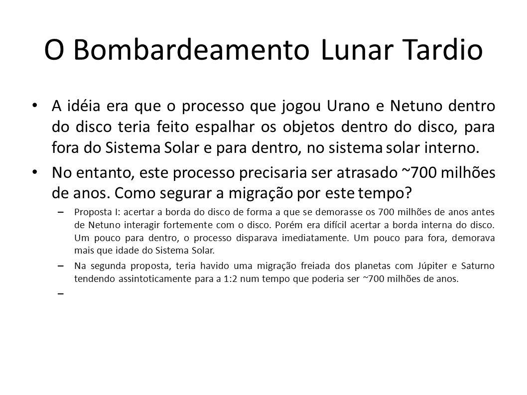 O Bombardeamento Lunar Tardio A idéia era que o processo que jogou Urano e Netuno dentro do disco teria feito espalhar os objetos dentro do disco, par