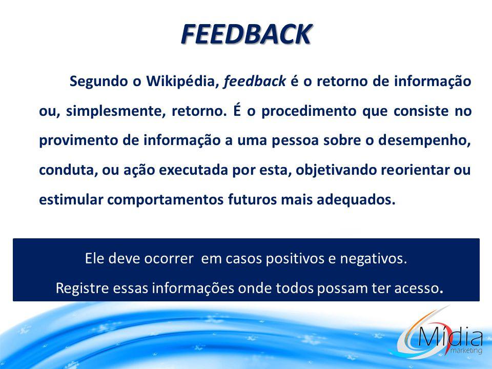 Segundo o Wikipédia, feedback é o retorno de informação ou, simplesmente, retorno. É o procedimento que consiste no provimento de informação a uma pes
