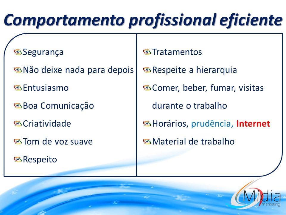 Comportamento profissional eficiente Segurança Não deixe nada para depois Entusiasmo Boa Comunicação Criatividade Tom de voz suave Respeito Tratamento