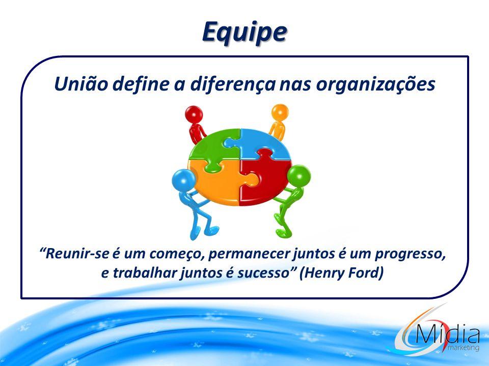 Equipe União define a diferença nas organizações Reunir-se é um começo, permanecer juntos é um progresso, e trabalhar juntos é sucesso (Henry Ford)