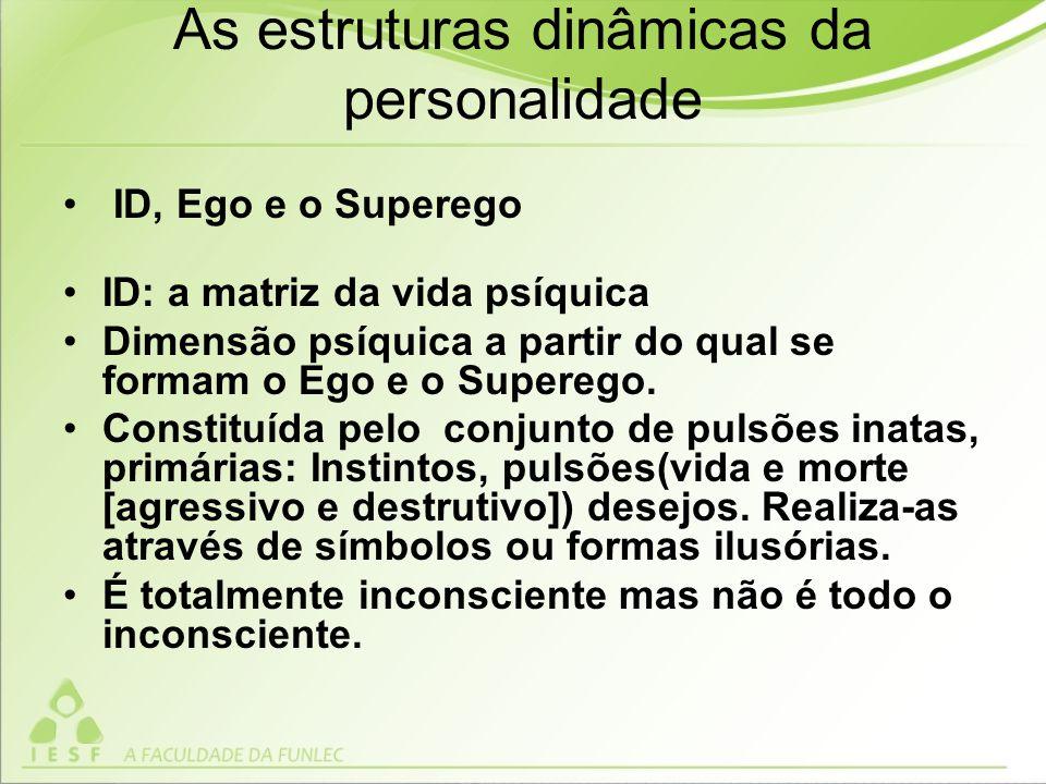 As estruturas dinâmicas da personalidade ID, Ego e o Superego ID: a matriz da vida psíquica Dimensão psíquica a partir do qual se formam o Ego e o Superego.