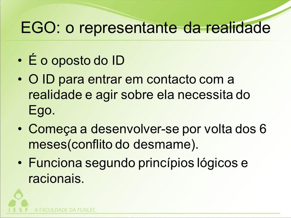EGO: o representante da realidade É o oposto do ID O ID para entrar em contacto com a realidade e agir sobre ela necessita do Ego.