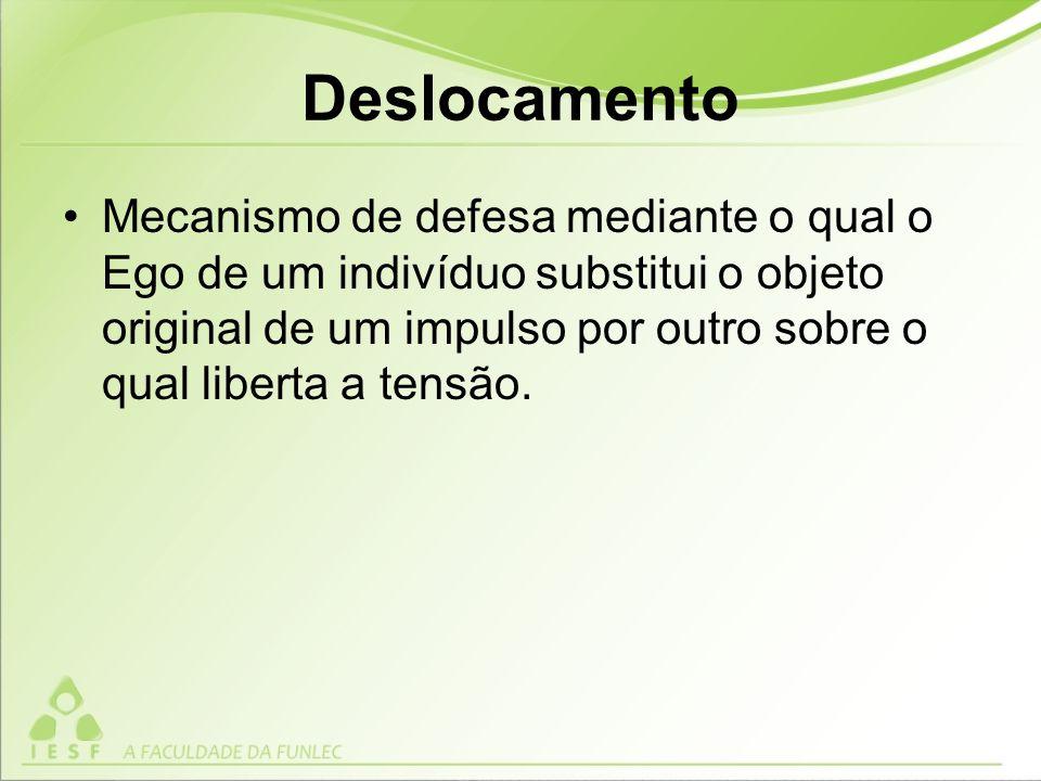 Deslocamento Mecanismo de defesa mediante o qual o Ego de um indivíduo substitui o objeto original de um impulso por outro sobre o qual liberta a tensão.