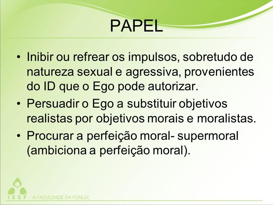 PAPEL Inibir ou refrear os impulsos, sobretudo de natureza sexual e agressiva, provenientes do ID que o Ego pode autorizar.