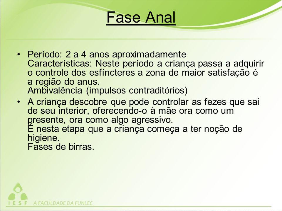 Fase Anal Período: 2 a 4 anos aproximadamente Características: Neste período a criança passa a adquirir o controle dos esfíncteres a zona de maior satisfação é a região do anus.