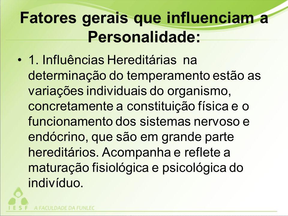 Fatores gerais que influenciam a Personalidade: 1.