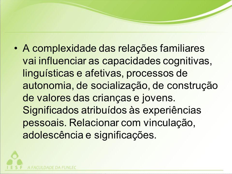 A complexidade das relações familiares vai influenciar as capacidades cognitivas, linguísticas e afetivas, processos de autonomia, de socialização, de construção de valores das crianças e jovens.