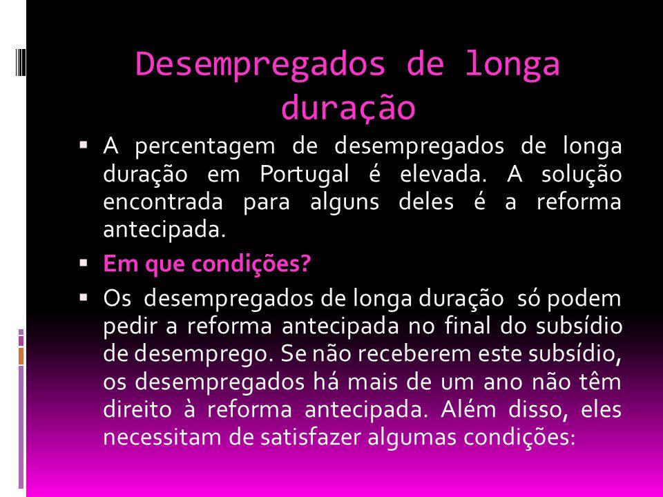 Desempregados de longa duração  A percentagem de desempregados de longa duração em Portugal é elevada. A solução encontrada para alguns deles é a ref