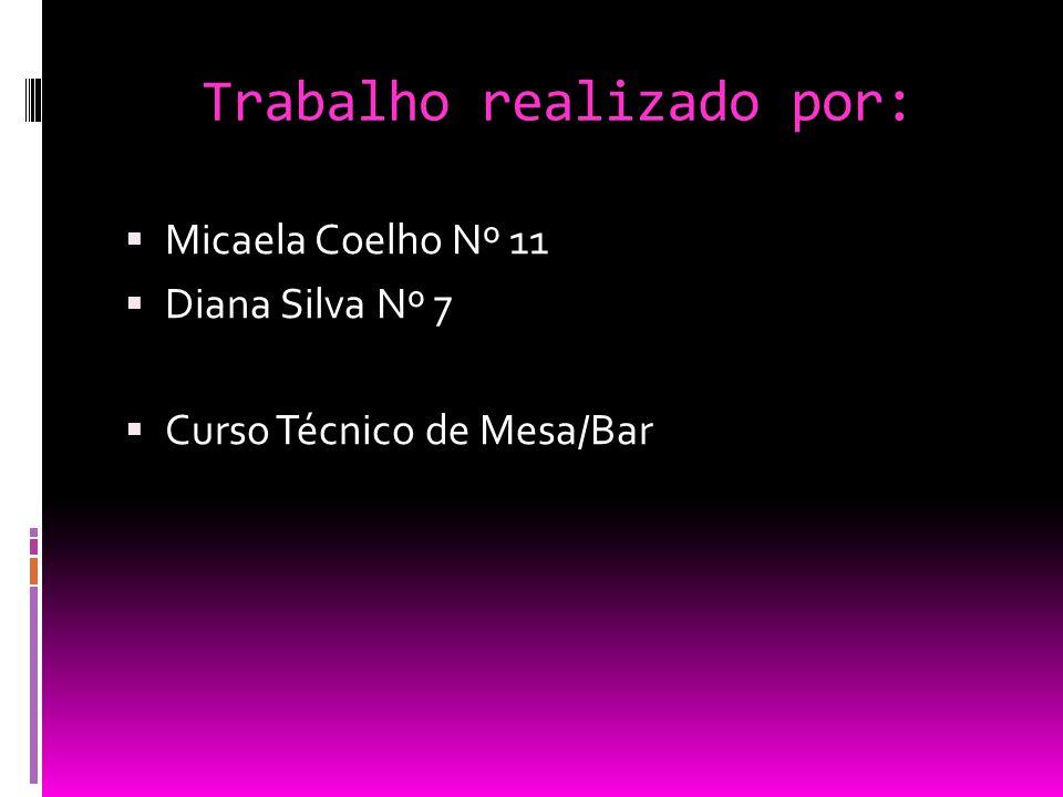 Trabalho realizado por:  Micaela Coelho Nº 11  Diana Silva Nº 7  Curso Técnico de Mesa/Bar