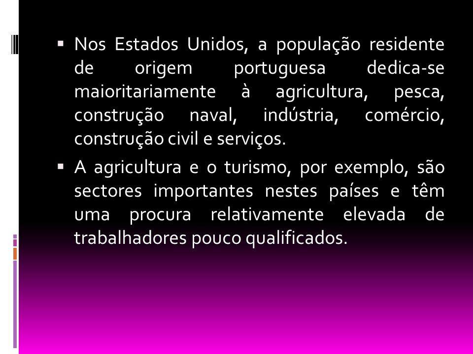  Nos Estados Unidos, a população residente de origem portuguesa dedica-se maioritariamente à agricultura, pesca, construção naval, indústria, comérci