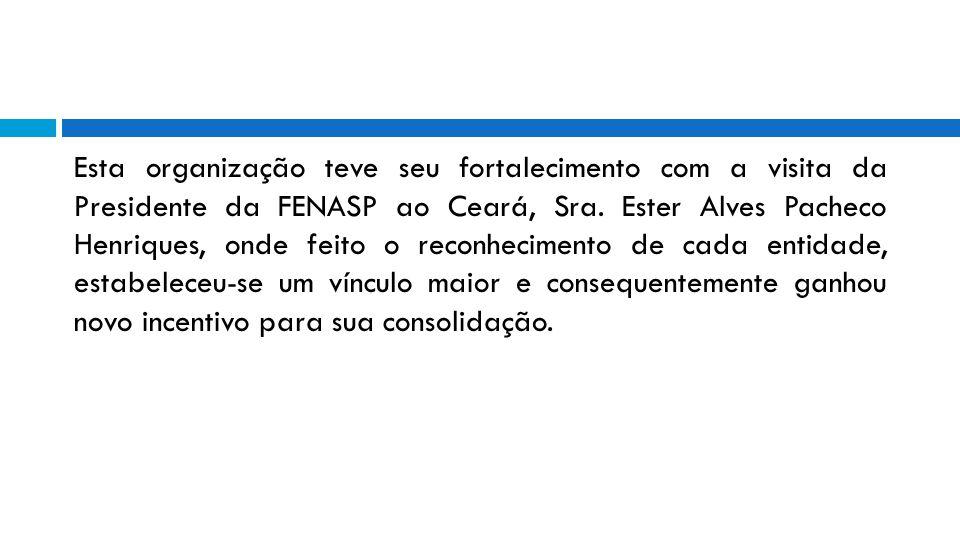 Esta organização teve seu fortalecimento com a visita da Presidente da FENASP ao Ceará, Sra. Ester Alves Pacheco Henriques, onde feito o reconheciment