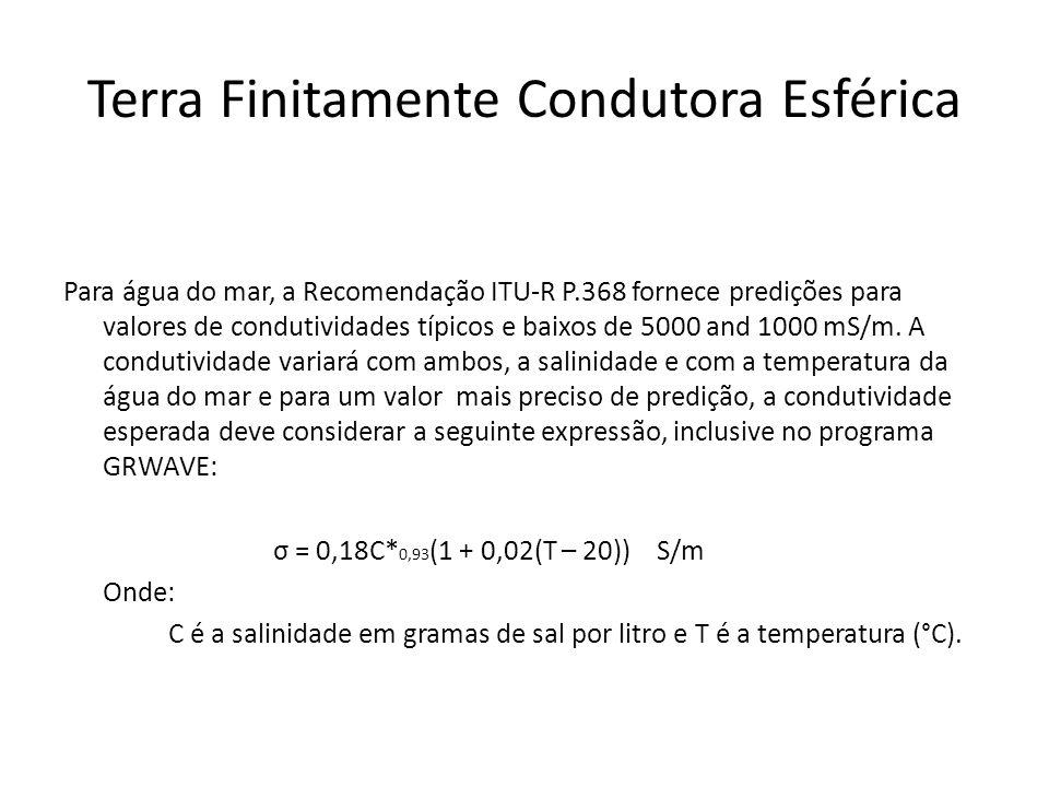 Para água do mar, a Recomendação ITU-R P.368 fornece predições para valores de condutividades típicos e baixos de 5000 and 1000 mS/m.
