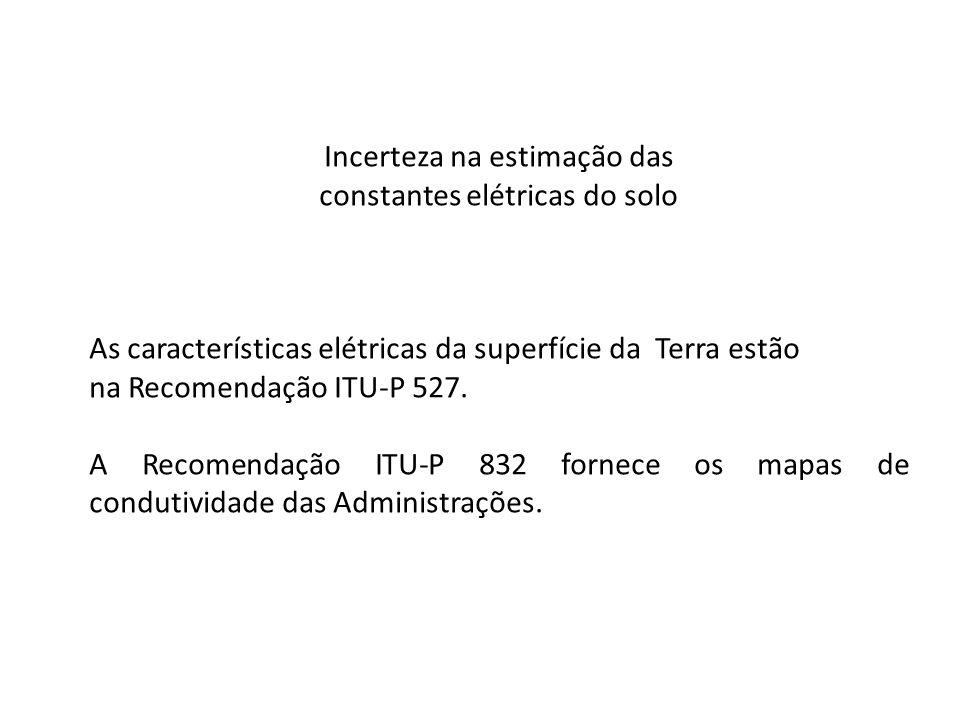 Incerteza na estimação das constantes elétricas do solo As características elétricas da superfície da Terra estão na Recomendação ITU-P 527. A Recomen