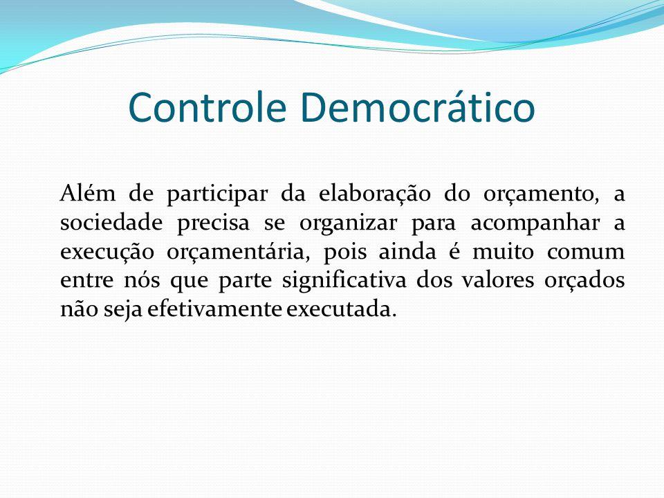 Controle Democrático Além de participar da elaboração do orçamento, a sociedade precisa se organizar para acompanhar a execução orçamentária, pois ain