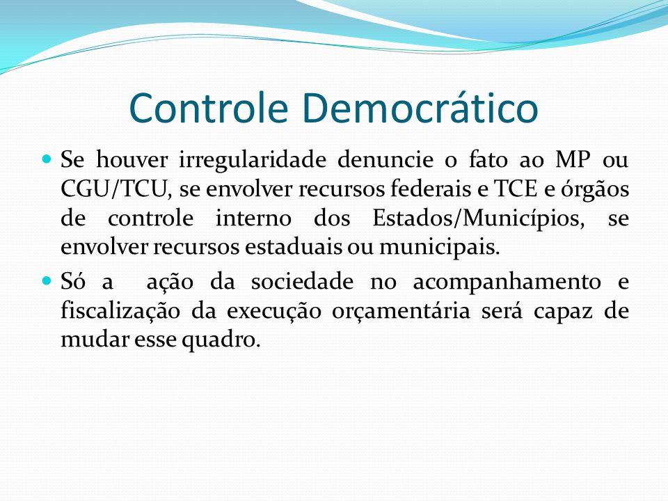 Controle Democrático Se houver irregularidade denuncie o fato ao MP ou CGU/TCU, se envolver recursos federais e TCE e órgãos de controle interno dos E