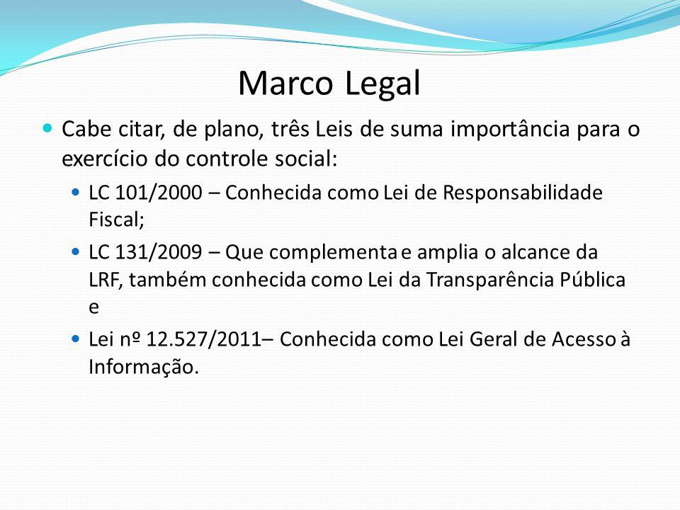 Cabe citar, de plano, três Leis de suma importância para o exercício do controle social: LC 101/2000 – Conhecida como Lei de Responsabilidade Fiscal;