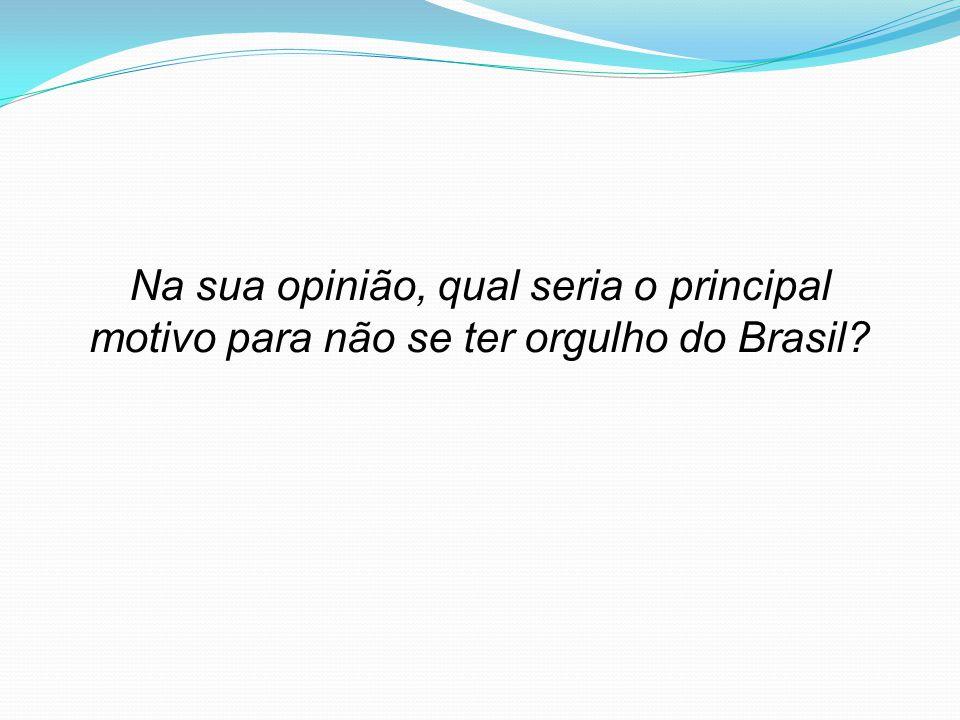 Na sua opinião, qual seria o principal motivo para não se ter orgulho do Brasil?