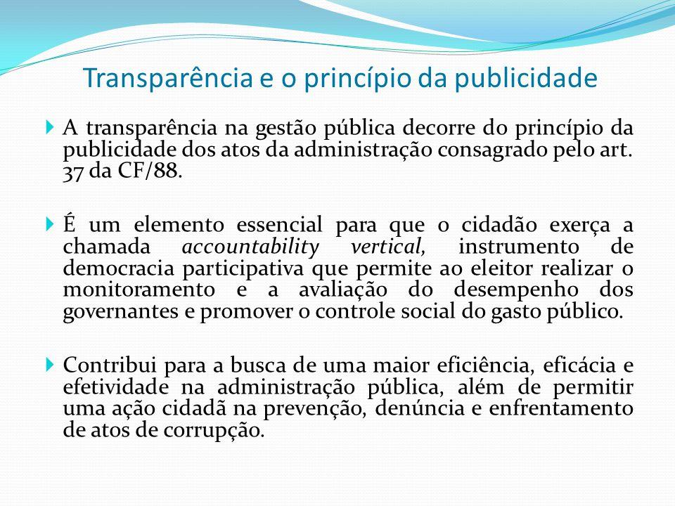  A transparência na gestão pública decorre do princípio da publicidade dos atos da administração consagrado pelo art. 37 da CF/88.  É um elemento es